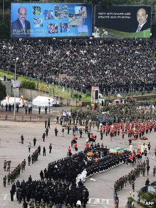 Thousands greeted the coffin's arrival on Meskel Square