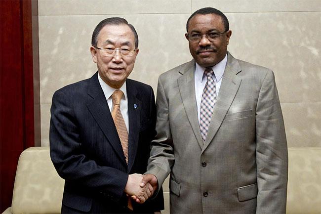 Ban ki moon Hailemariam Desalegn