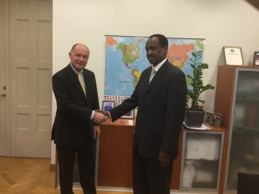 H.E. Ambassador Teshome Toga (light) and H.E. Ambassador Rets Plēsums, Director of Second Bilateral Relations Department of the Latvian Foreign Ministry (left)