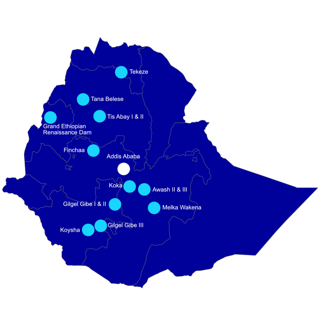 Dams in Ethiopia. © Embassy of Ethiopia in Brussels. This map is given for information purpose only and does not represent any views of the Ethiopian government.