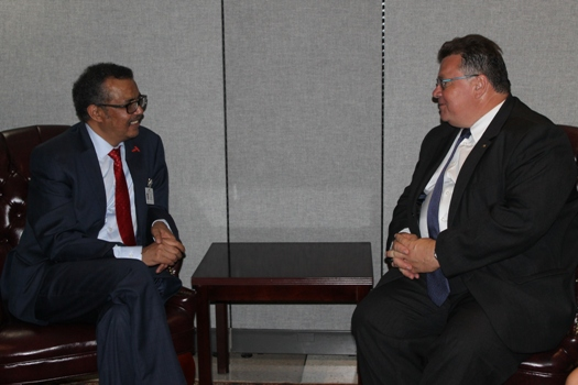 Ethiopian Minister of Foreign Affairs, Dr. Tedros Adhanom and Linas Antanas Linkevicius, Minister of Foreign Affairs of Lithuania, at the margins of the United Nations General Assembly in New York, on 20 September 2016